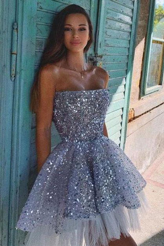 Cute tulle sequin short prom dress tulle sequin homecoming dress,CD528