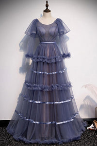 UNIQUE ROUND NECK TULLE LONG PROM DRESS TULLE EVENING DRESS,CD530
