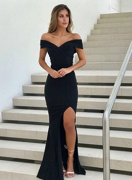 Black v neck long prom dress, mermaid evening dress,CD542