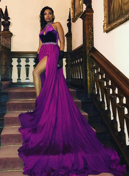 Stylish purple long prom dress, purple evening dress,CD544