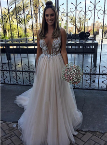 Champagne v neck tulle long prom dress, champagne evening dress,CD546
