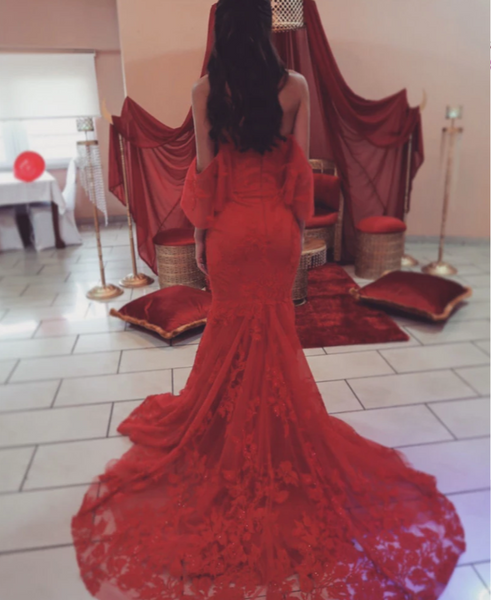 Elegant Red Lace Mermaid Evening Gowns Off The Shoulder For Engagement,CD552
