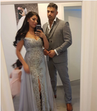 Silver Lace Off The Shoulder Mermaid Prom Dresses With Slit,CD553