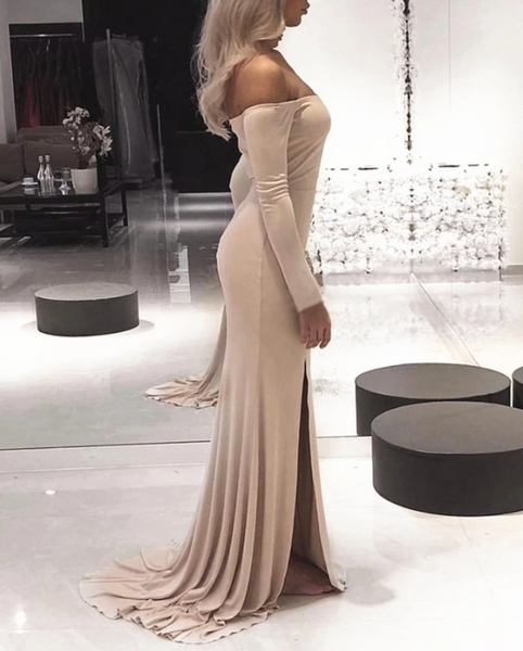 Sexy Leg Slit Jersey Off Shoulder Long Sleeves Mermaid Evening Dresses,CD563