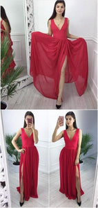Simply V Neck Chiffon Long Prom Dress with Side Slit ,CD576