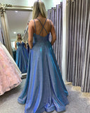 Hot Sexy A Line Spaghetti Straps Blue Long Prom/Evening Dresses,CD580