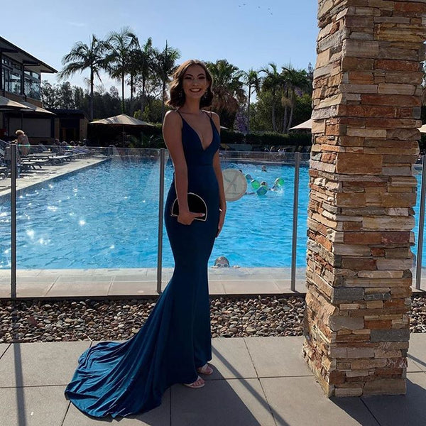 Sexy A Line V Neck Navy Blue Long Prom/Evening Dress Sweep Train,CD584