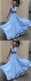Simple A Line V Neck Blue Long Prom/Evening Dresses with Ruffles,CD589