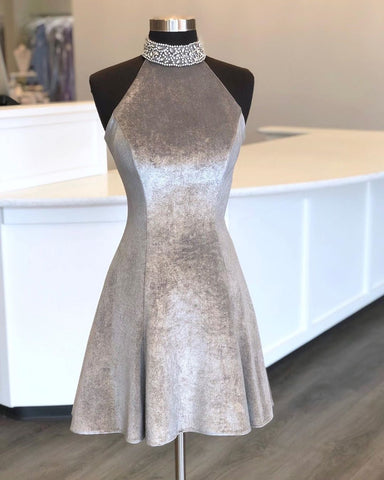 Bling A Line High Neck Gray Short Homecoming Dresses with Beading,CD591