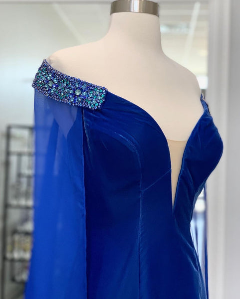 Elegant Mermaid Deep V Neck Royal Blue Long Prom/Evening Dresses,CD592
