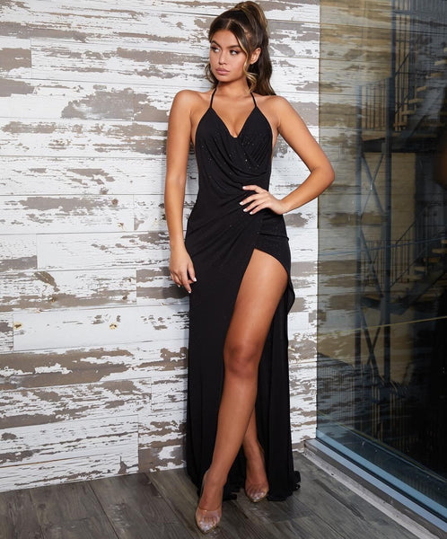 Hot Sexy Black Prom Dresses Halter Evening Dresses with Split Front,CD599