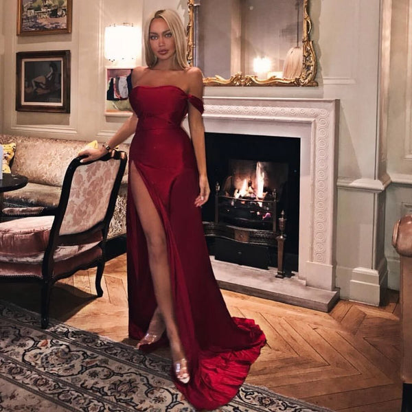 High Fashion Red Prom Dresses Off the Shoulder Evening Dresses with Split Front,CD600