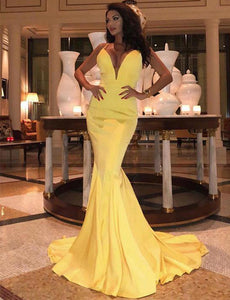 Sexy Yellow Prom Dresse Deep V Neck Sweep Train Evening Party Dresses,CD601