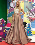 Beautiful A-Line Jewel Cap Sleeves Satin Long Prom/Evening Dress with Appliques,CD602