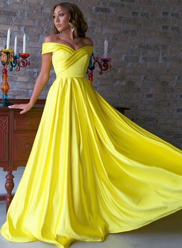Spring Yellow Satin Off The Shoulder Long Prom Dress, Bridesmaid Dress,CD608
