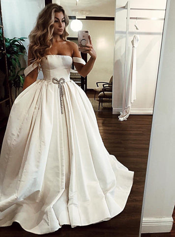 White Satin Off Shoulder Long Senior Prom Dress, Evening Dress With Beading,CD609