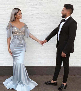 Blue Gray Satin V Neck Long Mermaid Prom Dress, Evening Dress With Lace,CD611