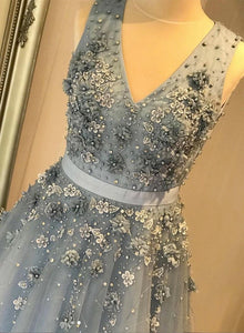 Blue Tulle Lace V Neck Long Dress, Blue A Line Senior Prom Dress For Girls,CD613