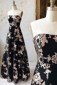 Black Lace Sequins Long Strapless A Line Prom Dress, Evening Dress,CD614