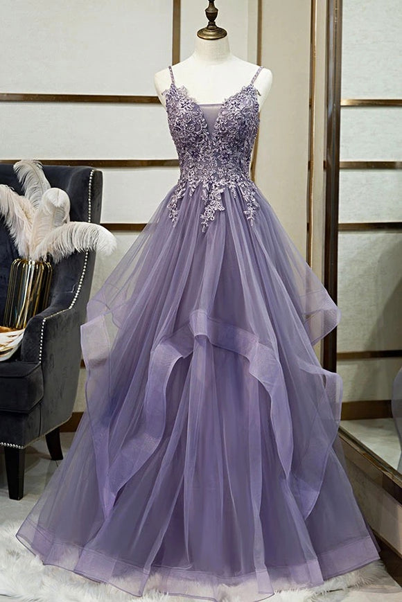 Unique Long Tulle Spaghetti Straps Layered Prom Dress With Applique,CD615