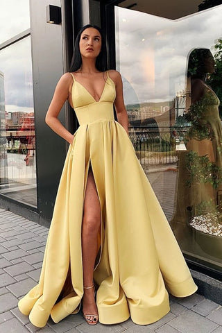 A Line Spaghetti Straps V Neck Yellow Prom Dresses with Pockets High Slit Satin Formal Dress,CD618