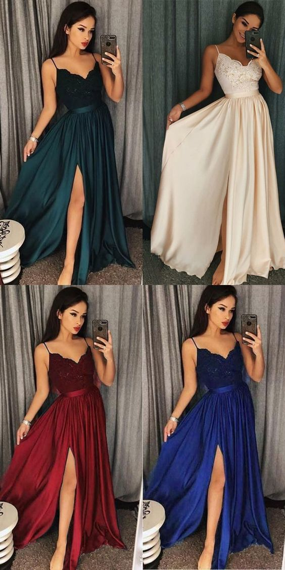 Chic A line Prom Dresses Spaghetti Straps Lace Long Prom Dress Evening Dressess ,CD620