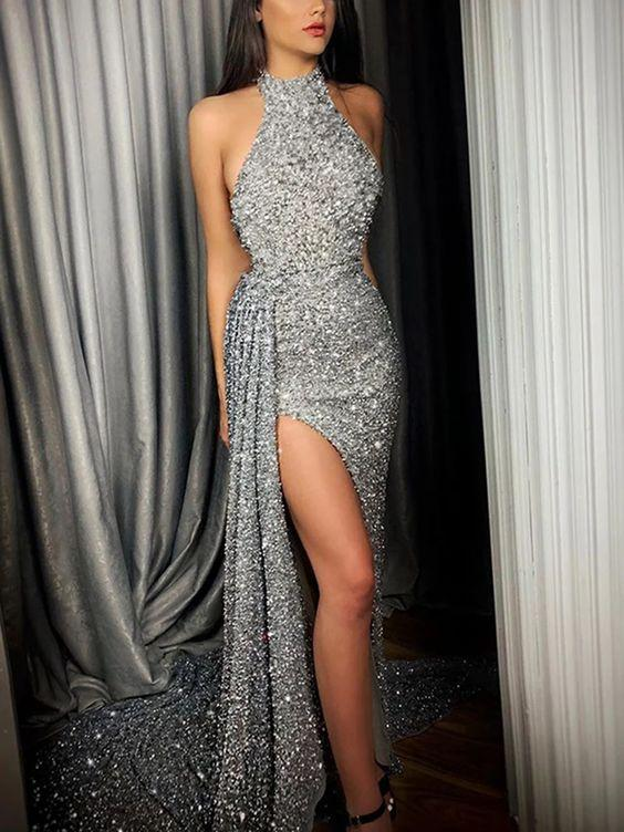 Sexy Irregular Hem Silver Halter Evening Dress, Long Prom Dress ,CD621