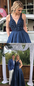 Modest V-Neck Long Navy Blue Prom Dress with Pockets Beading,CD626