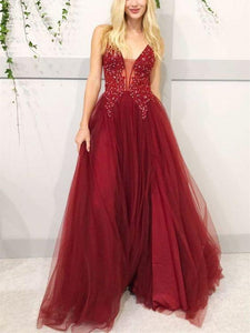 V neck burgundy lace tulle long prom dress ,CD628