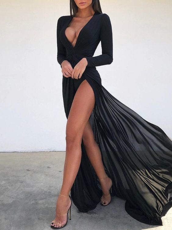 Black chiffon sexy Prom Dresses Split Evening Gowns,CD634