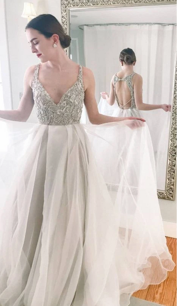 Beaded Top White Long Prom Gown with Backless,CD652