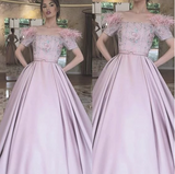 Pink prom dress ball gown short sleeve feather beaded boat neckline elegant prom gown,CD653