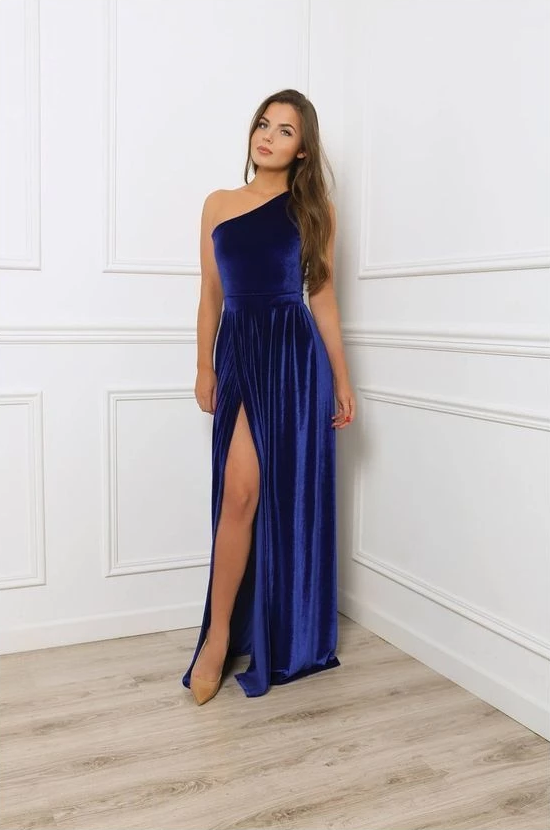 One Shoulder Royal Blue Velvet Prom Dress,CD654