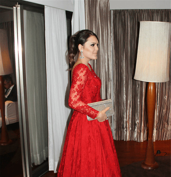 Red Long Sleeve Prom Dress, Handmade Prom Dress,Long Prom Dresses,Prom Dresses,Evening Dress, Prom Gowns, Formal Women Dress,prom dres,CD669