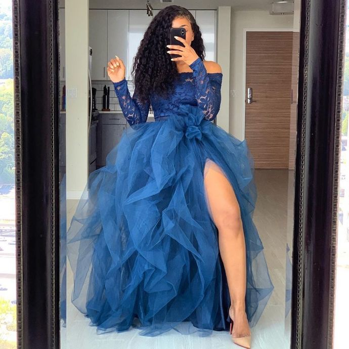 Long Sleeve Royal Blue Prom Gown,Prom Dress,long prom dress, evening dress,prom dresses, CD672