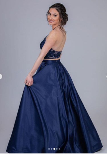 Two Pieces Dark Navy Charming Prom Dress, long prom dress, evening dress,prom dress, CD680
