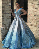 Backless Ball Gown Sparkly Sequins Prom Dress, long prom dress, evening dress,prom dress, CD682