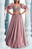 Two piece long prom dress, evening dress, CD690