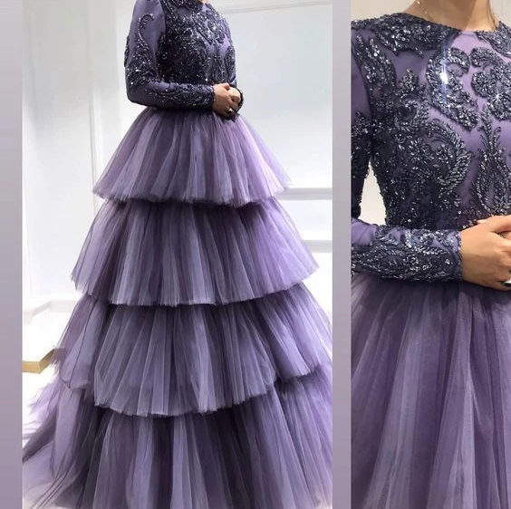 Purple long sleeves prom dress, evening dress, CD691