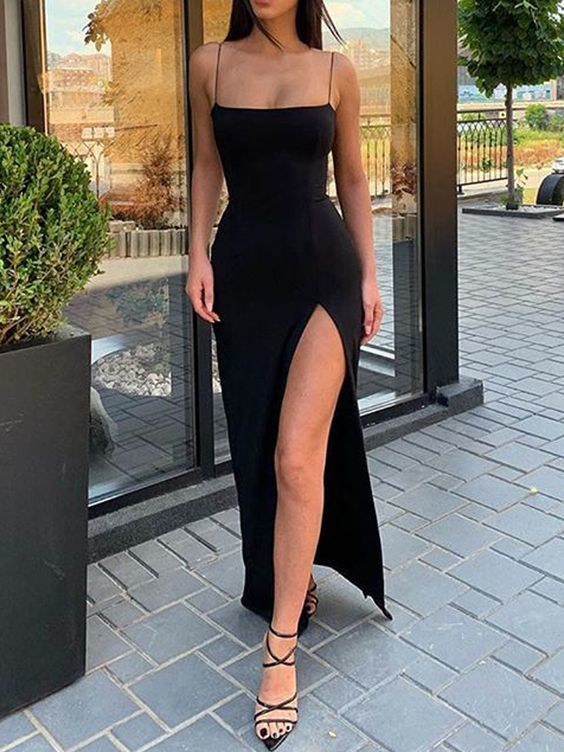 Mermaid Low-cut Spaghetti Straps Open Back Black Satin Long Prom Dresses with High Split, CD693