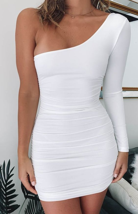One Shoulder Short White Homeocming Dress, CD694