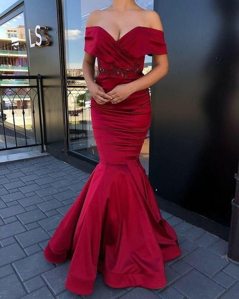 Sexy Prom Dress,Strapless Satin Mermaid Prom Dress,Party Gowns,V-neck Prom Dresses,Unique Prom Dress, CD699