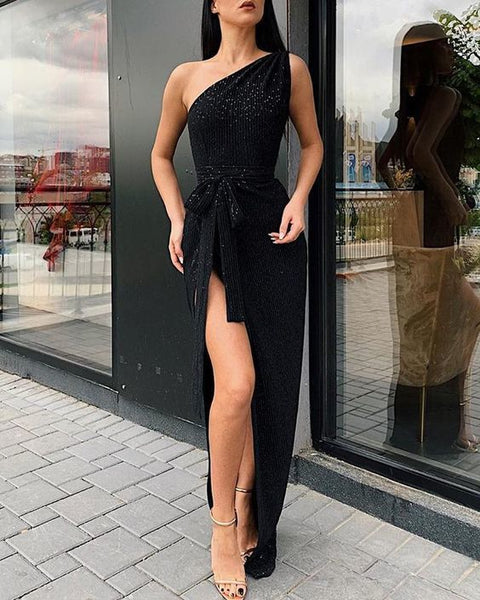One Shoulder Thigh Slit Evening Dress, CD708