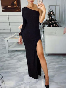 One Shoulder Thigh Slit Evening Dress, CD709