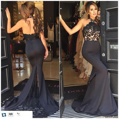 Sexy Black Mermaid Evening Dress Halter Lace Appliques Sexy Open Back Sweep Train Prom Dresses Formal Long Party Gown , CD713