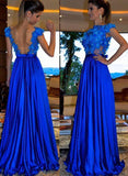 Blue round neck applique long prom dress, evening dress CD861
