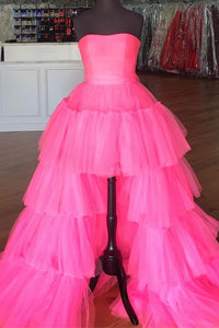 Elegant Strapless Layered Hot Pink Long Prom Dress with Slit CD872