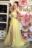 Elegant Straps Yellow Long Prom Dress with Lace Appliques CD875
