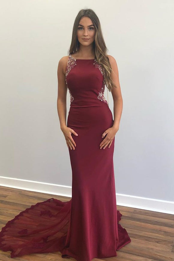Elegant Beaded Mermaid Red Long Prom Dress with Appliques CD876