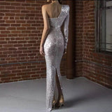 Sparkly Mermaid One Shoulder Silver Long Prom Dress with Slit CD878